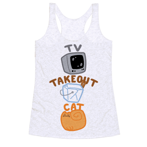 Tv Takeout Cat Racerback Tank Top