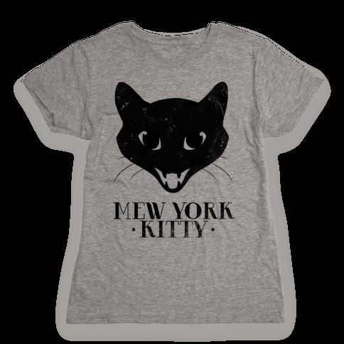 Mew York Kitty (Distressed) Womens T-Shirt