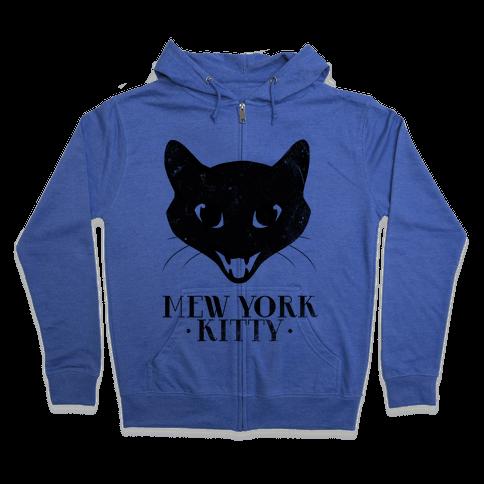 Mew York Kitty (Distressed) Zip Hoodie