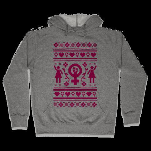 Girl Power Ugly Sweater  Hooded Sweatshirt
