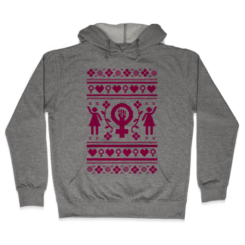Girl Power Ugly Sweater  Hooded Sweatshirt