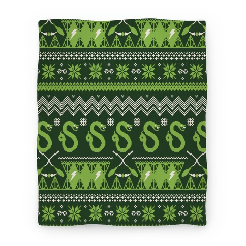 Hogwarts Ugly Christmas Sweater Pattern: Slytherin Blanket