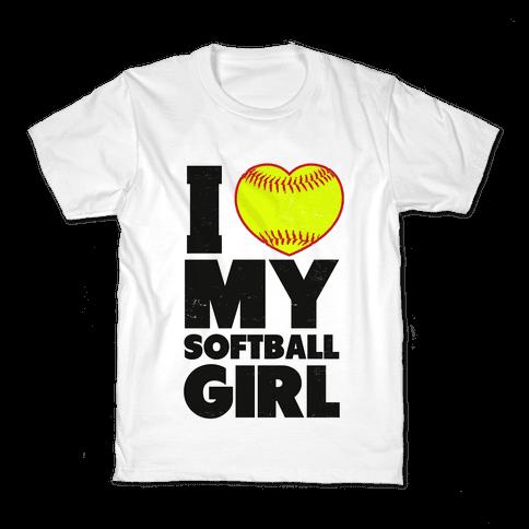 I Love My Softball Girl Kids T-Shirt