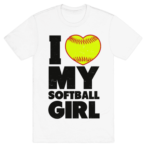 I Love My Softball Girl Mens T-Shirt
