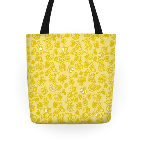 Bee And Flower Pattern Tote