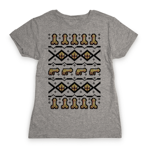 Dicks and Butts Ugly Sweater Pattern Womens T-Shirt