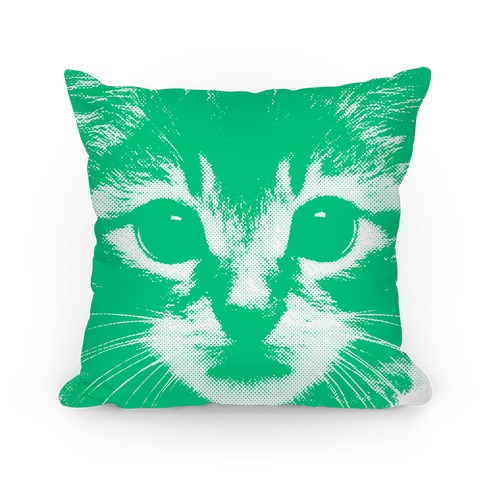 Cat Face (mint) Pillow
