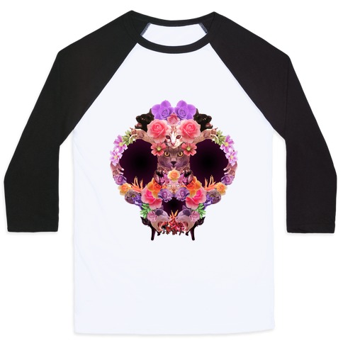 Floral Cat Skull Collage Baseball Tee