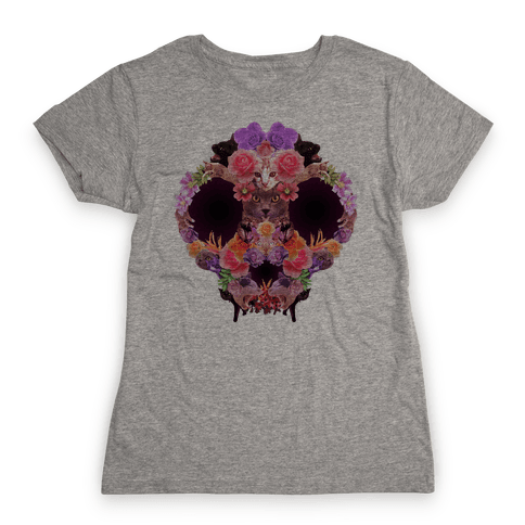 Floral Cat Skull Collage Womens T-Shirt