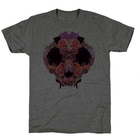 Floral Cat Skull Collage Mens T-Shirt
