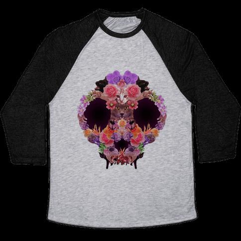 Floral Cat Skull Collage Baseball Tee