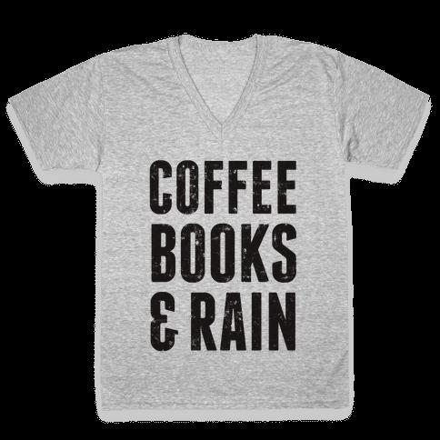 Coffee Books & Rain (Vintage) V-Neck Tee Shirt