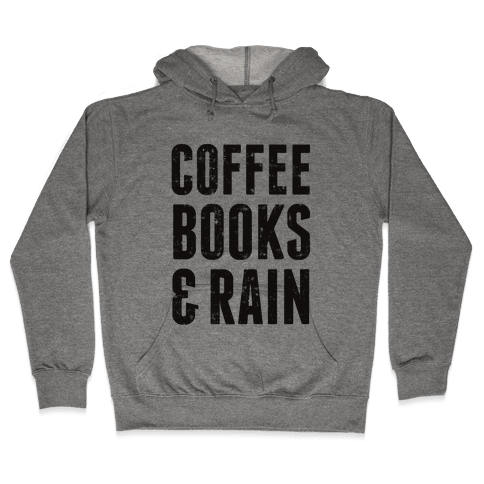 Coffee Books & Rain (Vintage) Hooded Sweatshirt