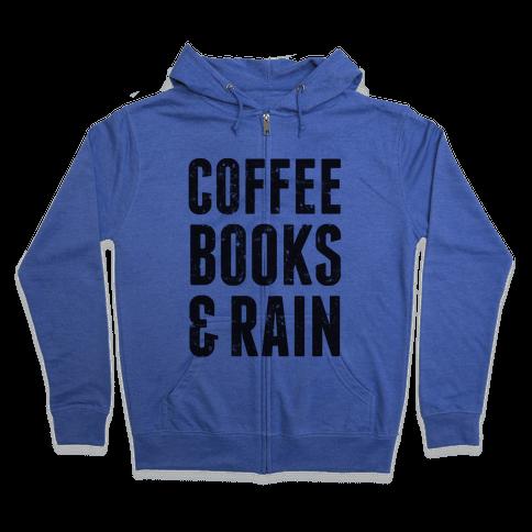 Coffee Books & Rain (Vintage) Zip Hoodie