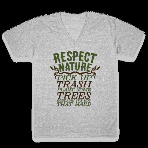 Respect Nature V-Neck Tee Shirt