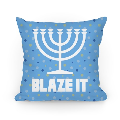 Blaze It Menorah Pillow