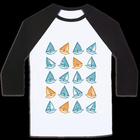 Little Sailboats Pattern Baseball Tee