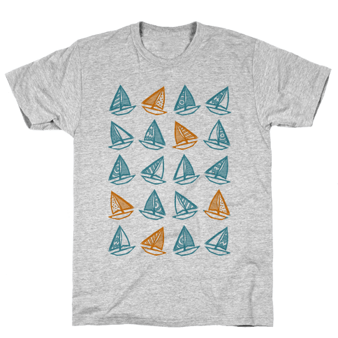 Little Sailboats Pattern Mens T-Shirt