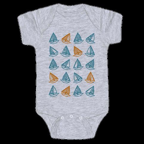 Little Sailboats Pattern Baby Onesy