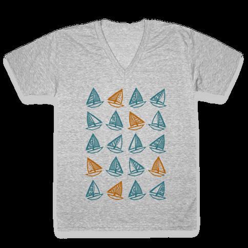 Little Sailboats Pattern V-Neck Tee Shirt