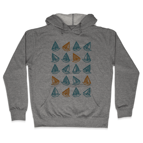 Little Sailboats Pattern Hooded Sweatshirt