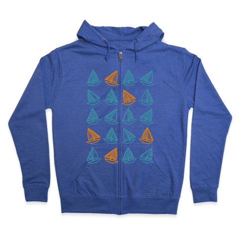 Little Sailboats Pattern Zip Hoodie