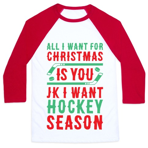 All I Want For Christmas Is Hockey Season Baseball Tee
