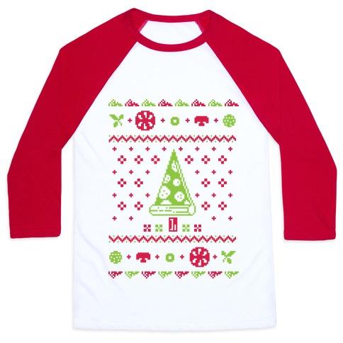 Ugly Pizza Christmas Sweater Baseball Tee