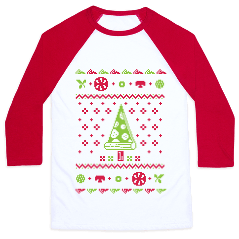 Ugly Pizza Christmas Sweater Baseball Tee