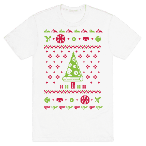 Ugly Pizza Christmas Sweater Mens T-Shirt