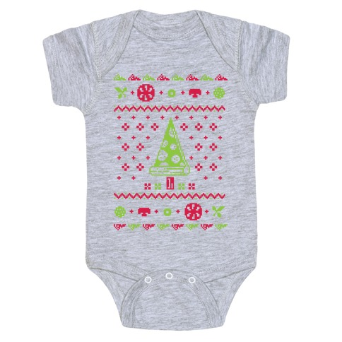 Ugly Pizza Christmas Sweater Baby Onesy