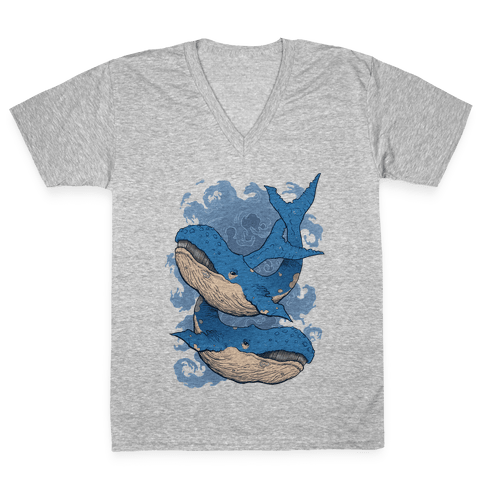 Humpback Whales V-Neck Tee Shirt