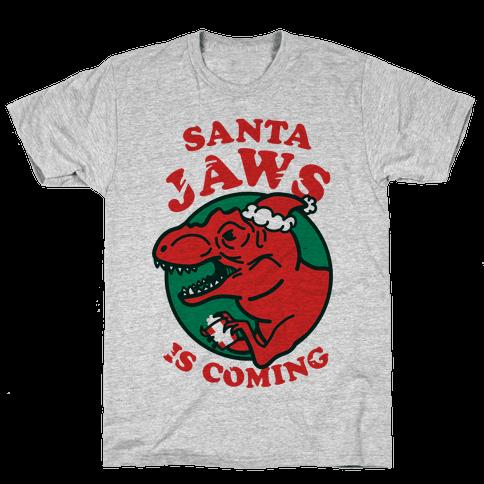 Santa Jaws Is Coming (T-Rex) Mens T-Shirt