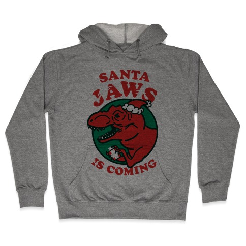 Santa Jaws Is Coming (T-Rex) Hooded Sweatshirt