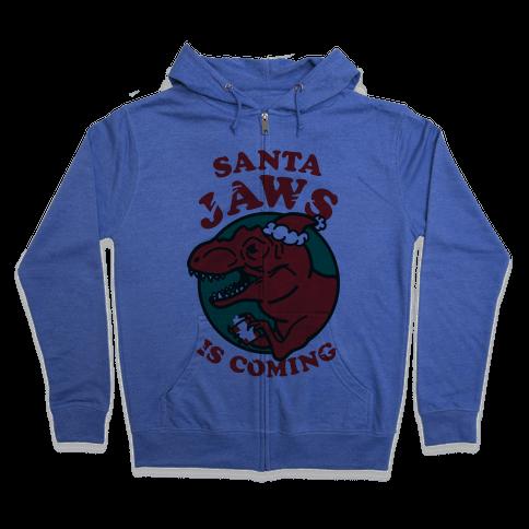 Santa Jaws Is Coming (T-Rex) Zip Hoodie