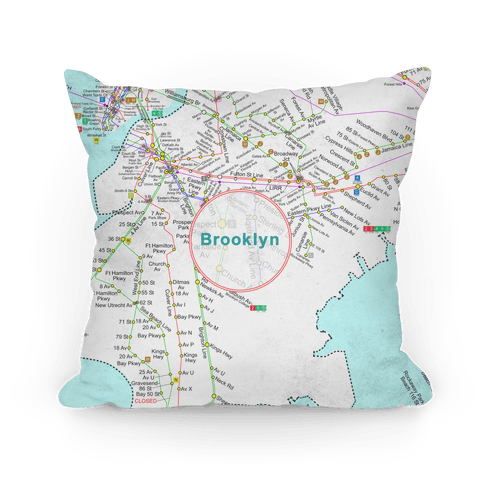 Brooklyn Transit Map Pillow