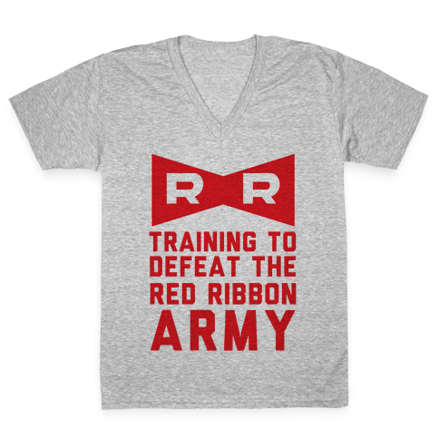 Training To Defeat The Red Ribbon Army V-Neck Tee Shirt