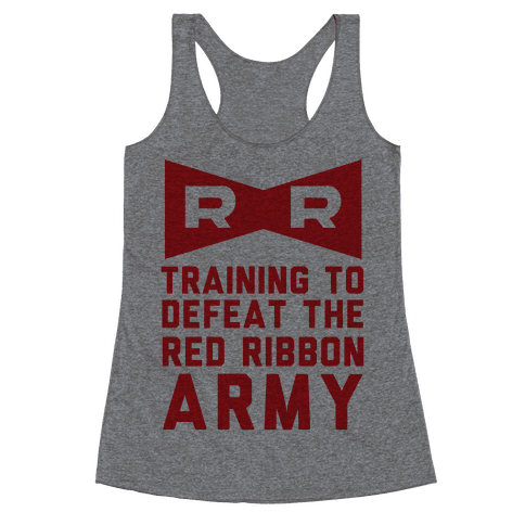 Training To Defeat The Red Ribbon Army Racerback Tank Top