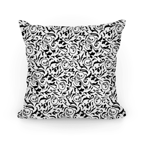 Filigree Flowers and Skulls Pattern Pillow