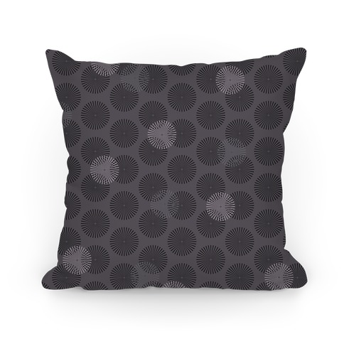 Gray Radial Mandalas Pattern Pillow