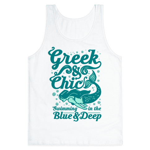 Greek & Chic Swimming in the Blue & Deep Tank Top