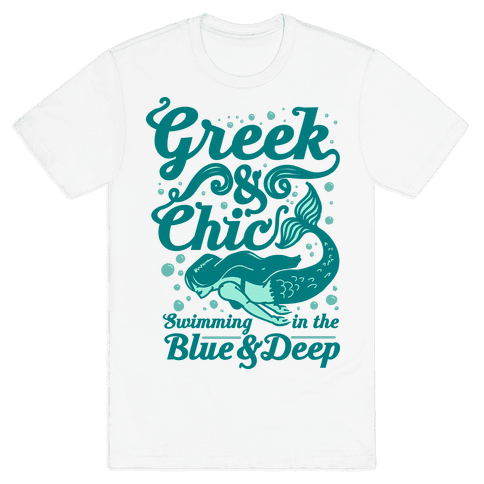 Greek & Chic Swimming in the Blue & Deep Mens T-Shirt