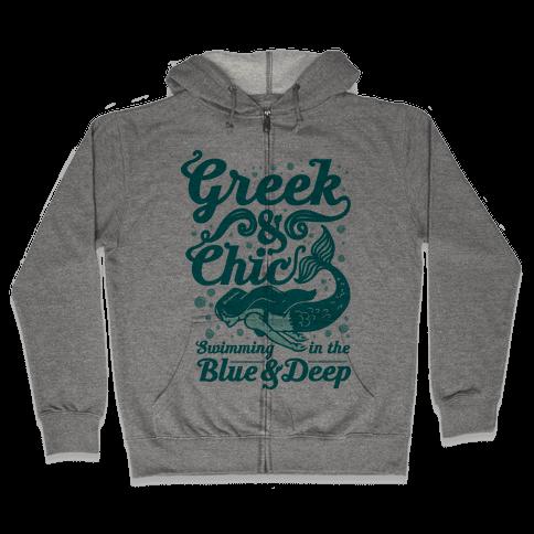 Greek & Chic Swimming in the Blue & Deep Zip Hoodie