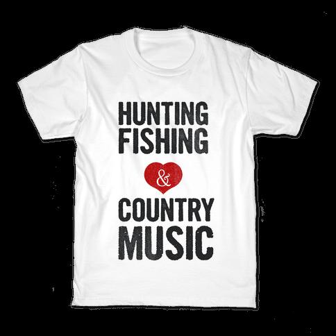 Hunting Fishing & Country Music (Womens) Kids T-Shirt