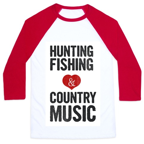 Hunting Fishing & Country Music (Womens) Baseball Tee