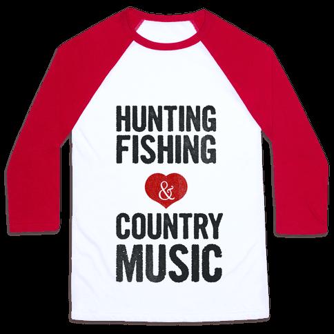 Hunting Fishing & Country Music (Womens) Baseball Tee