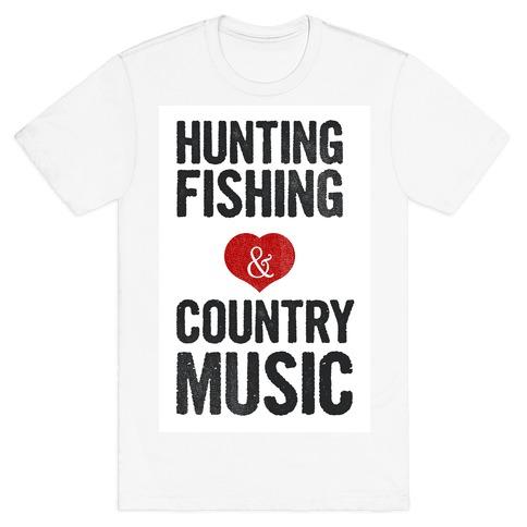 Hunting Fishing & Country Music (Womens) T-Shirt