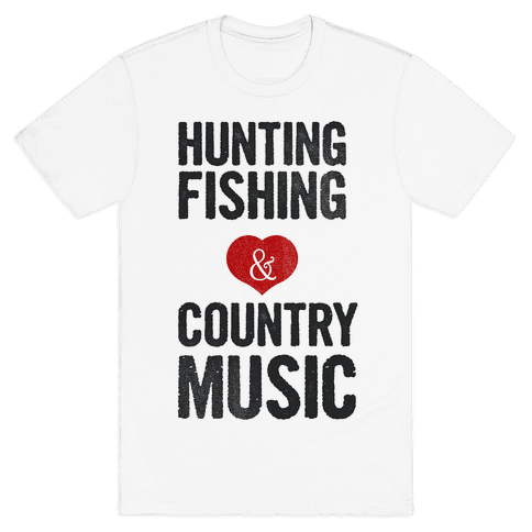 Hunting Fishing & Country Music (Womens) Mens T-Shirt