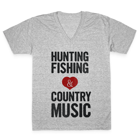 Hunting Fishing & Country Music (Womens) V-Neck Tee Shirt