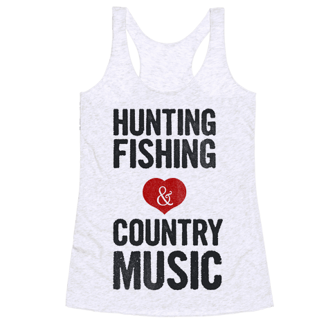 Hunting Fishing & Country Music (Womens) Racerback Tank Top